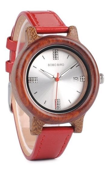 Relógio Feminino Bambu Madeira P29b Red Analógico Bobo Bird
