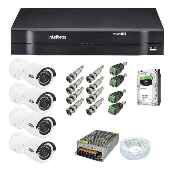 Kit Cftv 4 Câmeras Multi Hd 720p 1mp Dvr Intelbras Mhdx 1104