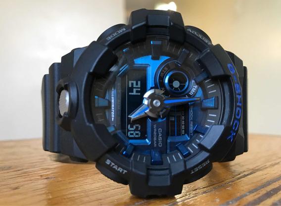 Relógio G-shock Ga-710-1a2dr (preto Com Fundo Azul)