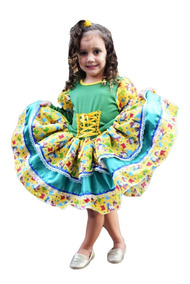 Vestido Festa Caipira Junina Quadrilha Infantil +luva+laço