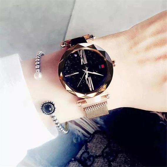 Relógio Feminino Pulseira Imã Magnetico Estrelado Promocao