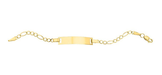 Esclava Placa Lisa Delgada 3x1 12cm Oro 14k - 741
