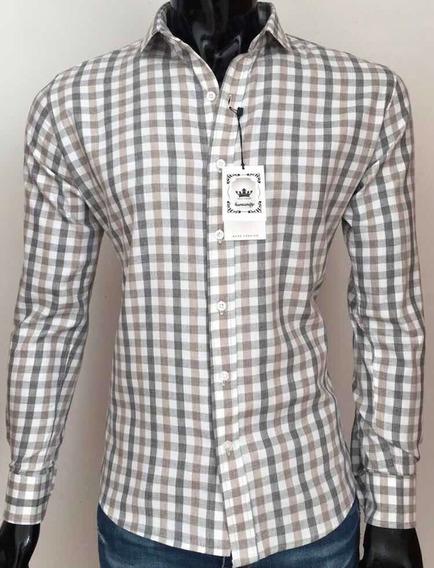 Camisa A Cuadros Slim Fit 100% Algodón, Manga Larga Mod 1107