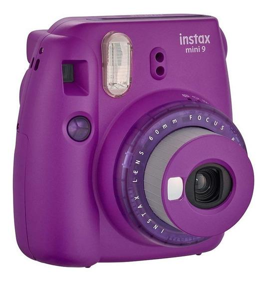 Kit Câmera Instax Mini 9 Roxo Açai Bolsa 10 Filmes Nf