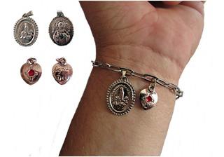 Cadeia Consagraçao Nossa Senhora Inox + Coracao + Medalha