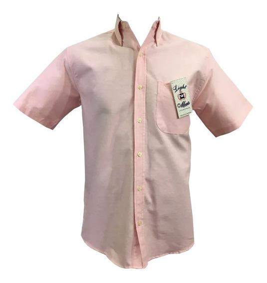 Camisa Rosa Casual Manga Corta Hombre Oferta
