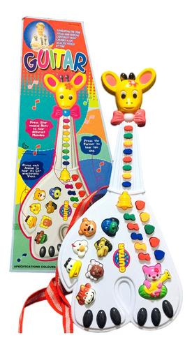 Brinquedo Infantil Guitarra Girafa Com Luz E Som Piano