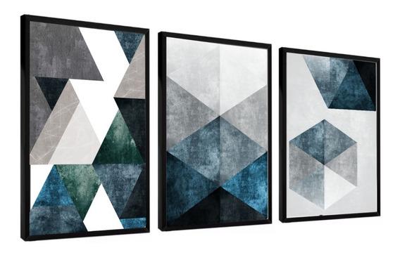 Quadro Abstrato Tons Azuis E Cinza Lindo Cimento Tendência
