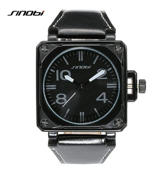 Relógio Masculino Original Estiloso Quadrado Retrô De Couro