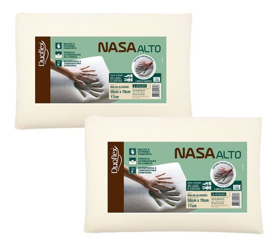 Kit 2 Travesseiros Nasa Alto Viscoelástico Duoflex 17cm