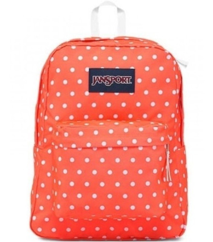 Mochila Jansport Superbreak Tahitian Orenge White Dots 25l