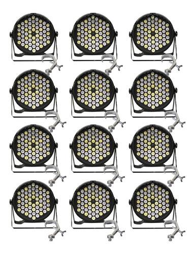 Kit 12 Canhões Par Led 60w 60x1 Rgbwa- Jdb605 +10 Garras Aço