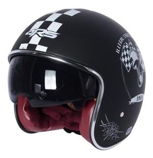 Casco Moto Abierto Cafe Racer 4rs 588 Engine Visor Humo Dot