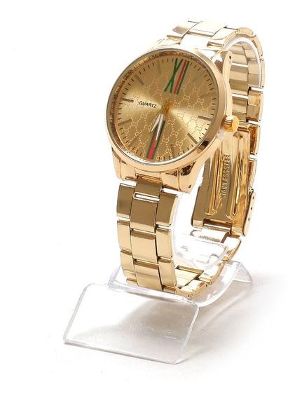 Relógio Feminino Dourado Lindo Modelo Novo + Caixa Acrilico