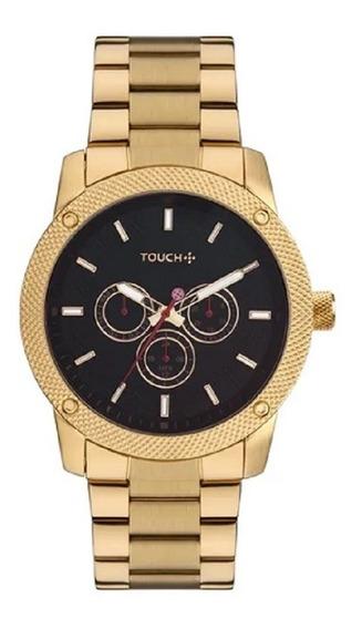 Relógio Touch Masculino Dourado