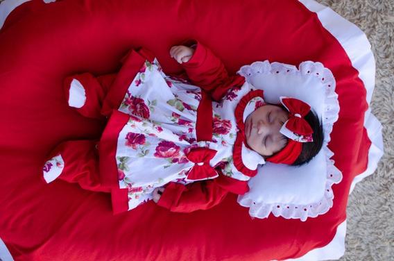 Saída De Maternidade Menina Charmosa Cor 4 Vermelha 5 Peças