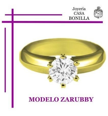Zarubby Anillo Compromiso Oro Amarillo 10k Diamante Grafito