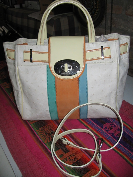Cartera Jackie Smith Cuero Flor Charol Natural Blanco Median