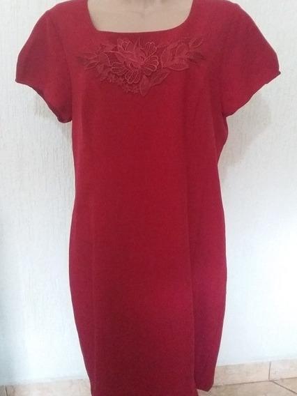Vestido Vermelho De Linho C/forro E Zíper Nas Costas