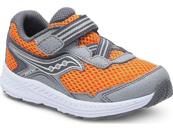 Tenis Saucony Ride 10 Sneaker Grey/orange Para Niño Nuevo
