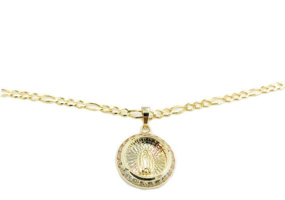 Hermosa Medalla Virgen De Guadalupe Oro 10k+ Cadena De Regal