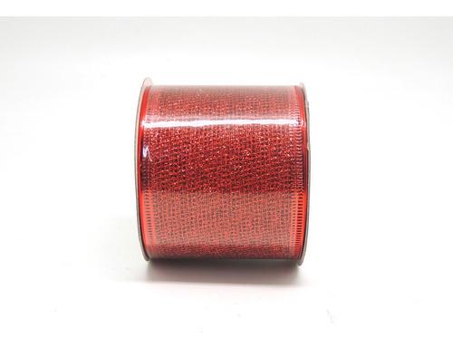 Cinta Malla Decorativa Navidad 6cm X 10yd Roja (11417)