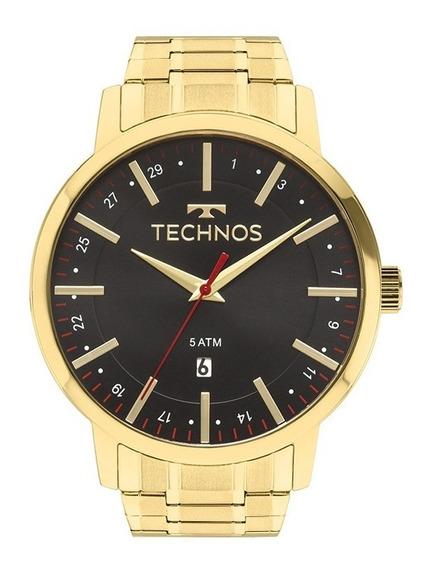 Relógio Technos Masculino Aço Dourado Preto Original