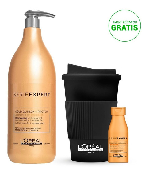 Shampoo Absolut Repair 1500ml + Vaso Y Travel Size Gratis!