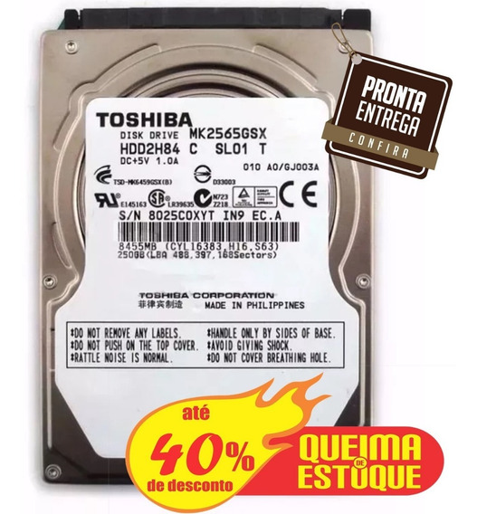 Hd 250gb - Sata - Notebook - Seminovo - Garantia 3 Meses.