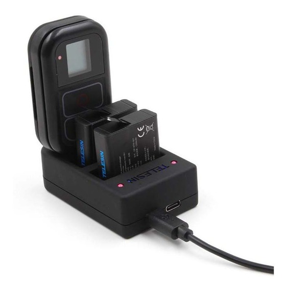 Carregador 3 Em 1 Baterias E Controle - Gopro Hero8 7 6 5 4