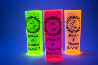 100 Copos Long Drink Neon 350ml Personalizados 15 Anos Top!!