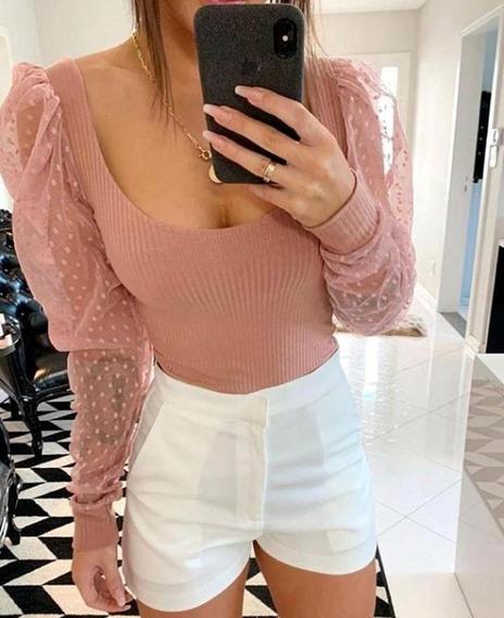 Cropped Blusa Canelada Com Mangas De Tule Com Poá Moda Blogueira