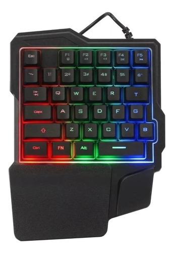 Teclado de uma mão gamer Briwax BA-502 português brasil cor preto com luz RGB