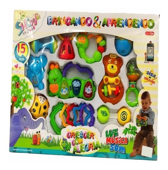 Bebê Kit Chocalhos Brinquedos Acessórios Luz Música 15 Peças