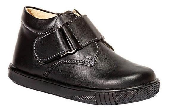 Zapato Escolar Colegial Casual Kinder Niño Negro Piel 311