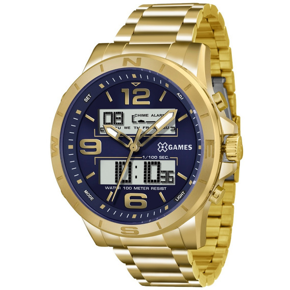 Relógio Masculino Dourado Xgames Original Xmgsa003