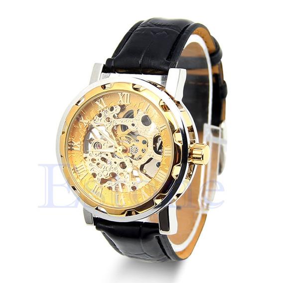 Relógio Masculino Mecanico Pulseira De Couro