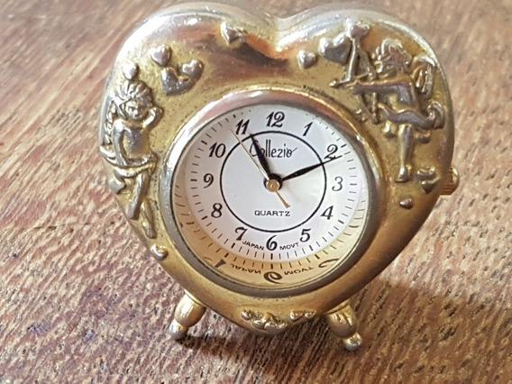 Relógio Pequeno Japonês De Coração Para Mesa Collezio