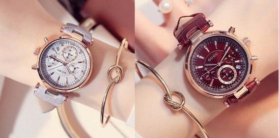 2 Relógios Feminino Guou Multifunções ( 1 Marrom + 1 Cinza )