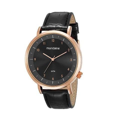 Relógio Mondaine Masculino Rosé Couro Preto Garantia 1 Ano