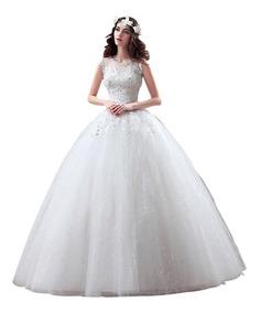 Vestido De Noiva Princesa Bordado Com Saiote Veu Luva 9008