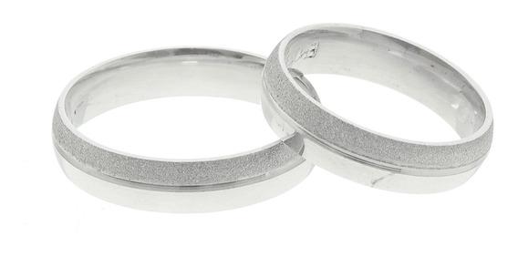 Par De Aliança Prata 950 80% Diamantada 20% Lisa 5mm