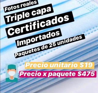 Tapabocas Quirúrgicos Barbijo 3 Filtros Certificado X 25 Un.