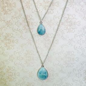 Colar Duplo Gota Cristal Azul Banho De Prata Francisca Jóias