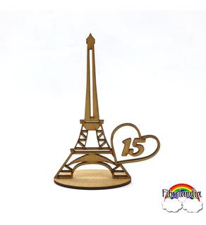 Souvenir Torre Eiffel 15 Años Corazón En Fibrofácil 12cm X10