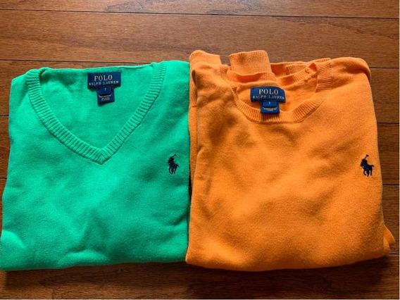 Sweater Polo De Niño, Color Verde Y Color Naranja
