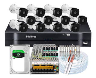 Kit Cftv 12 Cameras Vhd 1220b G5 2mp Intelbras Dvr 16 Canais