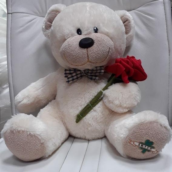 Urso Ursinho De Pelúcia 50cm C/ Flores Presente Namorados