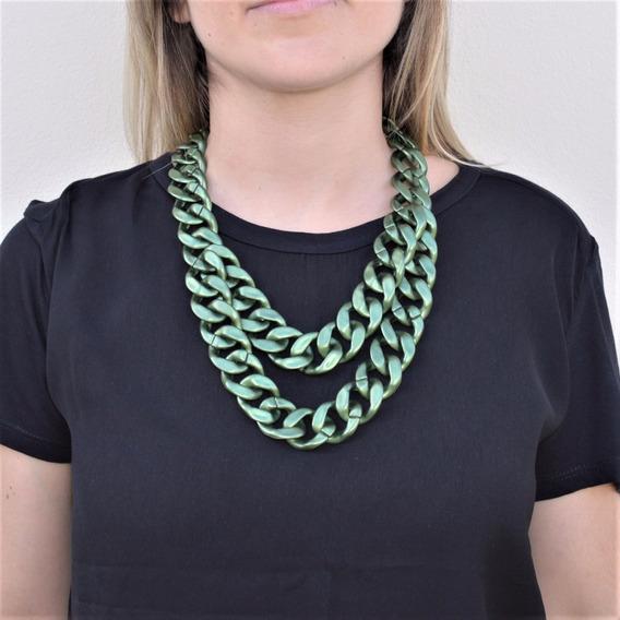 Colar De Elos Verde Metalizado Acrílico Bijuteria Moda