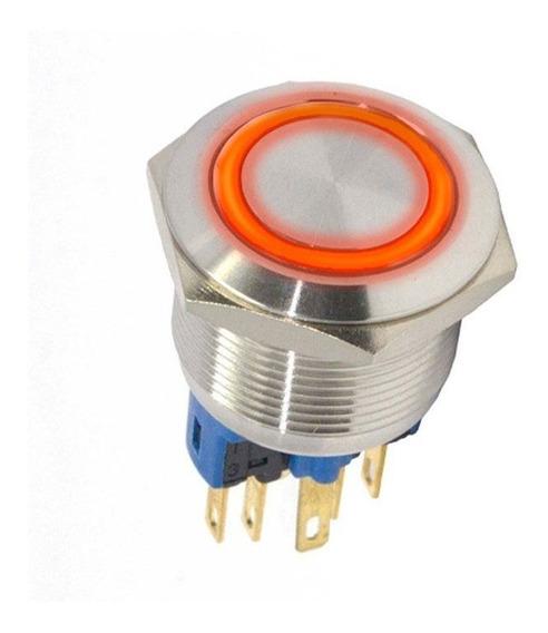 Botão Antivandalismo Iluminado 22mm 12vca Momentâneo Luz Vermelha Metaltex